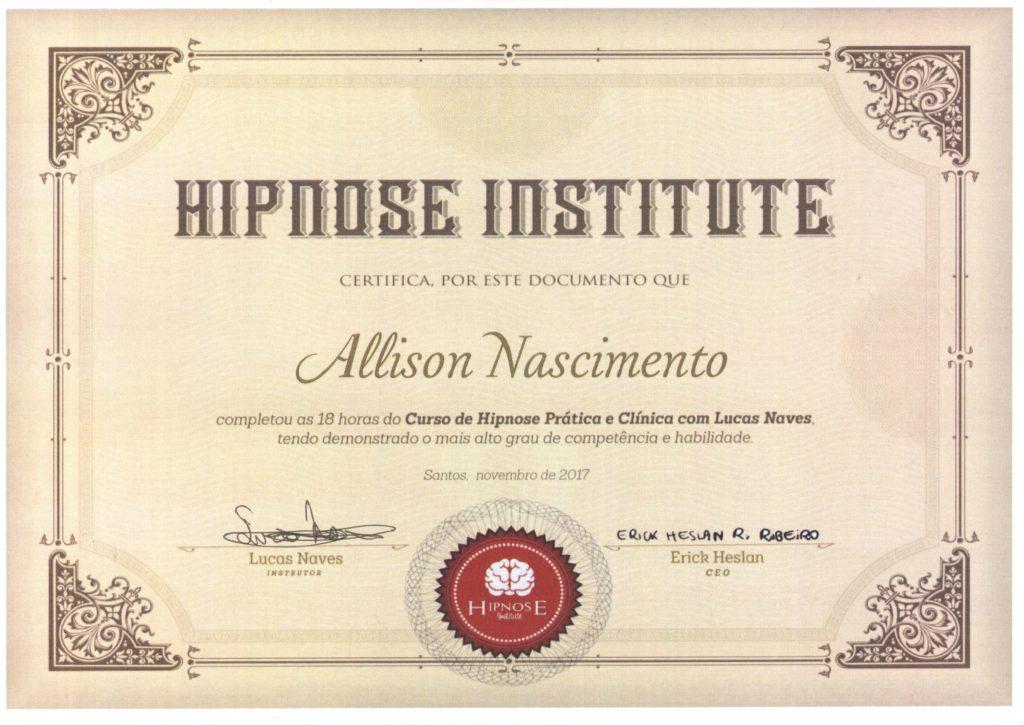 Certificado do Curso de Hipnose Online