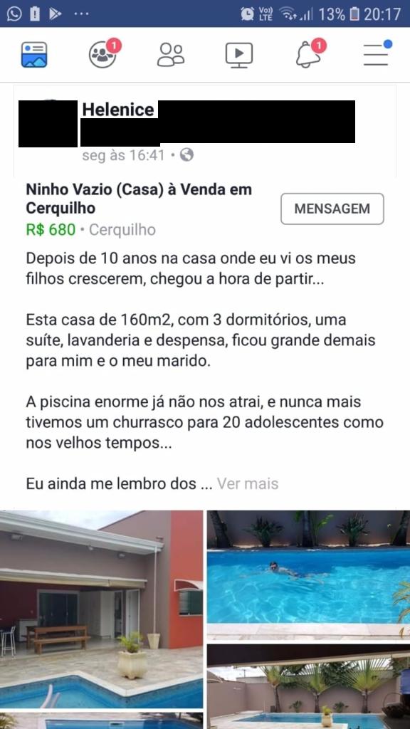 Anúncio de Casa no Facebook com copy perfeita - 01